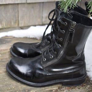 Balmain Black Combat Boots Military